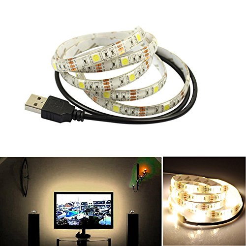 LED Fernseher Hintergrundbeleuchtung WarmweißStreifen Forepin® Wasserdicht SMD 5050 IP65 Desktop Monitore USB LED Backlight, 1.5M