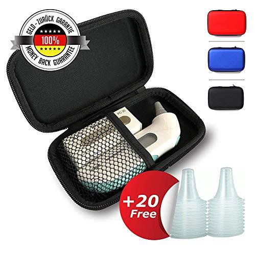 Tasche für Braun ThermoScan Ohrthermometer | GRATIS: 20 ERSATZSCHUTZKAPPEN | Reise Case | Ideal für die Aufbewahrung von Ihrem Baby oder Kinder Fieberthermometer | Schwarz
