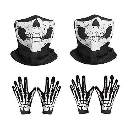 KEISL 2 Sets Skeletthandschuhe und Totenkopfmaske Geisterknochen für Hall