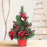 SHareconn Mini Albero di Natale, Deco Abete per Natale, Mini Christmas Tree Piccolo Albero Artificiale Decorazione Desktop di Natale, Altezza 30cm - Rosso