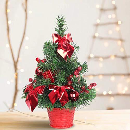 SHareconn Künstlicher Mini Weihnachtsbaum Premium Spruce Kleiner Bonsai mit Rot Verzierungen, 30cm