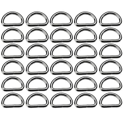 Xinlie D-Ringe-Halbringe Halbringe Ring Rundring Edelstahl D-Ringe Geschweißt D - Ring aus Stahl Rundring D Ring aus Edelstahl Metall D Ringe D-Ringe für Gürtelschnallen Taschen Gürtel(30 Stück)
