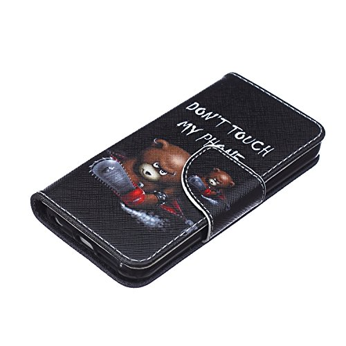 Custodia iPhone SE, Custodia iPhone 5S a portafoglio, Tebeyy Premium, motivo Fiore/Animale/ Personaggi, in pelle PU [chiusura magnetica] con fessura per carte per Apple Iphone SE/5S/5, Cavalletto, Por Bear