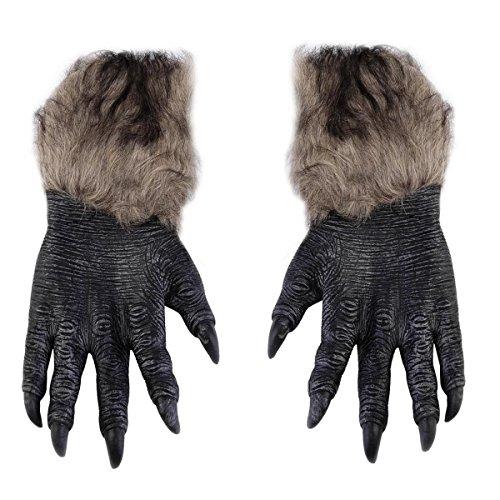 Queenbox Haarige Wolf Pfoten Handschuhe - Kostüm Party Halloween Zubehör Latex Faux Fur Wolf Handschuhe Scary Werwolf Pfote Party Kostüme Requisiten