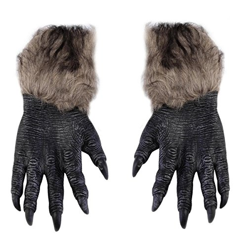 f Pfoten Handschuhe - Kostüm Party Halloween Zubehör Latex Faux Fur Wolf Handschuhe Scary Werwolf Pfote Party Kostüme Requisiten (Werwolf Kostüme Frauen)