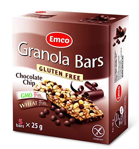 Emco - Chocolate Chip Granola Bars   Glutenfreie Müsliriegel mit Schokodrops   5 Riegel je Packung