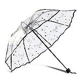 DAHAI FU 1 unid 1 unid Blanco Negro Color Transparente Paraguas Mujeres Plegable Rose Patrón Parasol Romántico Encantador Regalo plástico Romántico Transparente Paraguas Transparente (3)