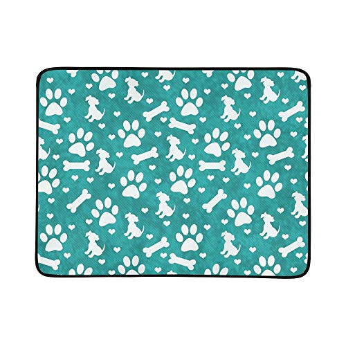 KAOROU Aquamarine weiße Hundepfote Druckt Welpen tragbare und Faltbare Deckenmatte 60x78 Zoll handliche Matte für Camping Picknick Strand Indoor Outdoor-Reise
