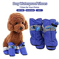 Festnight Dog Waterproof Shoes Pet Rain Shoes Nylon Fabric Boots for Teddy Pomeranian Bichon Frise Poodle Dogs Puppies
