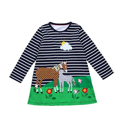 JERFER Baby Kleinkind-Mädchen Langarm Herbst Karikatur Streifen Prinzessin Kleid 1-6T (3T, Marine B)