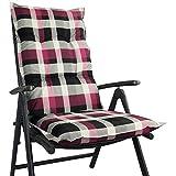 Hochlehner Auflage für Gartenstühle 120x50x8cm - Premium Stuhlauflage mit Komfortschaumkern und Bezug 100% Baumwolle - Sitzauflage Made in EU / ÖkoTex100, Dessin:Karo Magenta, Anzahl:6er Set