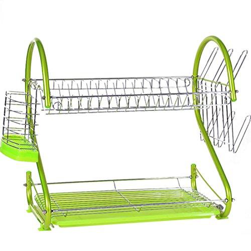 Majoz - scolapiatti a 2 piani in acciaio inox con vaschetta scolapiatti e supporto per posate, 42 x 25 x 40 cm