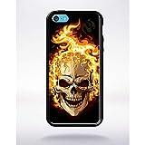 Générique Coque tête de Mort brulée Compatible Apple iphone 5c Bord Noir Silicone