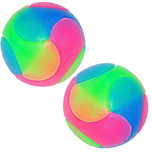 Rolin Roly 2Pcs Haustier Bunte Blinkender Ball Hund,Hundespielzeug Ball Leuchtende Bälle für Verbessern Sie die Intelligenz Ihres Hundes und Reinigen Sie Ihre Zähne Dog Ball -