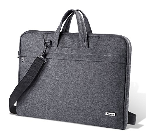 Voova Laptoptasche 14 15 15.6 Zoll Wasserdicht Notebooktasche Laptophülle mit Weichschaum Mehrere Fächer Laptop Umhängetasche Kompatibel mit Chromebook, Notebook, Ultrabook, MacBook (Grau)