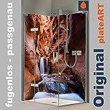 ORIGINAL plateART Eck-Duschrückwand, Rückwand Dusche Alu OHNE FUGEN, Fliesenspiegel, Fliesenersatz, Zion Wasserfall-Motiv