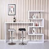 Estanteria Libreria + Barra de Bar Angulo Ajustable 198x39.5x164.5cm Blanco