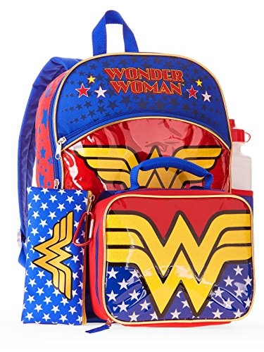 Wonder Woman - Mochila Bolsa Almuerzo 5 Piezas