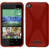 PhoneNatic Case für HTC Desire 320 Hülle Silikon rot, X-Style + 2 Schutzfolien