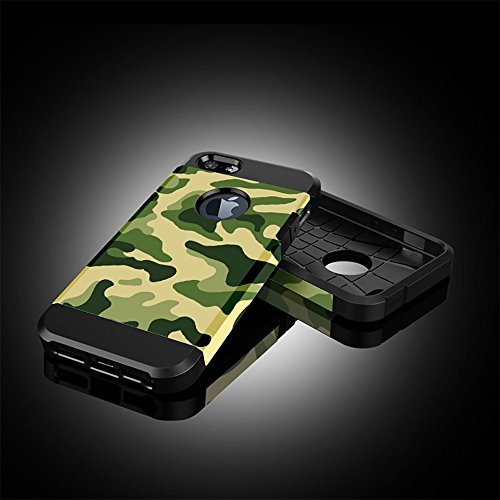 Custodia iPhone SE, Cover iPhone 5 / 5s, Alfort 2 in 1 Custodia Protettiva Premium PC Duro + TPU di alta qualità Flip Case Cover per Apple iPhone SE / 5 / 5s 4.0 Smartphone Immagine Camuffamento per  Camuffamento ( Verde )