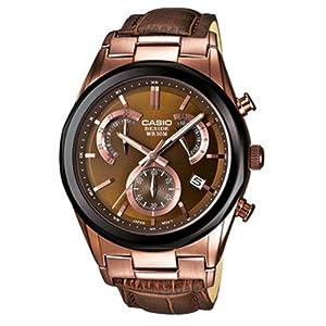 Casio BEM-509GL-5AVEF - Reloj analógico de cuarzo para hombre con correa de piel, color marrón de Casio