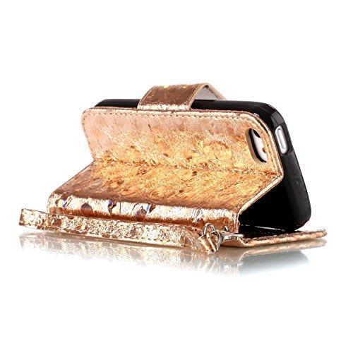 iPhone 5C Hülle, SHUNDA Brieftasche Schutzhülle Flip Leder Handyhülle mit Kippständer Bling Schmetterling Bookstyle Handycover für iPhone 5C - Lavendel Golden