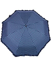 FabSeasons Polka Dots Digital Printed 3 Fold Automatic Umbrella with Frills for Rains, Summer and All Seasons