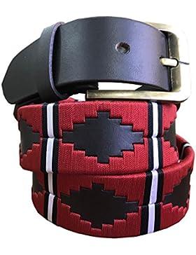 Carlos Diaz Manchester United Cinturón De Polo Argentino De Cuero Marrón Bordado Para Hombres Y Mujeres Unisex