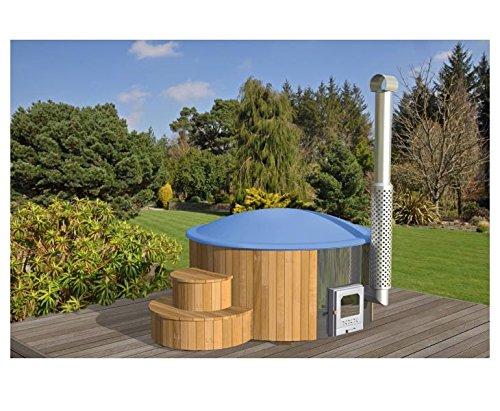 Badebottich 200cm mit blauen Fiberglas Einsatz fertig montiert, mit Außenofen - Badefass