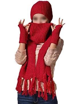 TOOGOO(R)Senoras 3 pzs conjunto de Sombrero gorro tejido suave de invierno Bufanda larga Guantes Rojo