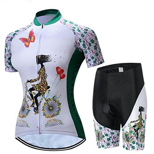 Radfahren Jersey Frauen Fahrrad Trikots Sport MTB Straßenberg Bluse Kurzarm Fahrrad T-Shirts Top Outdoor Reiten Jersey Fahrrad Jacke Weiß Grün Schwarz Größe M -