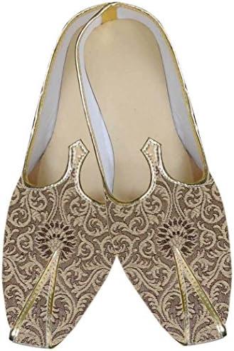 INMONARCH Hombres Dorado Brocado Jodhpuri Zapatos MJ068