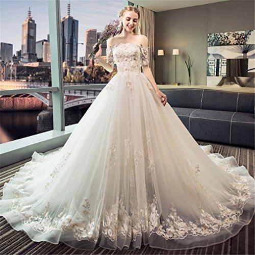 Traum-hochzeitskleid (ELEGENCE-Z Hochzeitskleid, Dünne Trägerlose Kurzärmelige Prinzessin Traum Lange Schleppende Luxus-Spitze Elegantes Kleid,L)