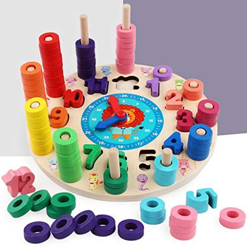 Plüsch Bildung Squishy Spielzeug aufblasbares Spielzeug im Freien Spielzeug,Frühe pädagogische Spielzeug-Kind-Digital-zusammenpassende Uhr-unterschiedliche Farbholzpuzzle ()
