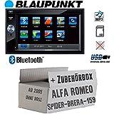 Alfa Romeo 159 Spider Brera Navi - Autoradio Radio BLAUPUNKT Santa Cruz 370 Bluetooth SD USB 6,2' TFT Display Touch - Einbausatz - Einbauzubehör - Einbauset