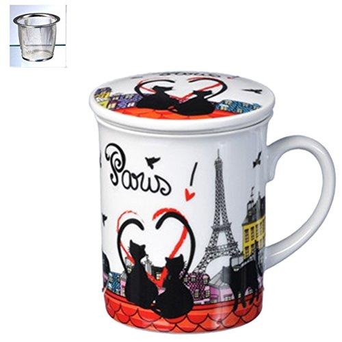 Fox Trot 9039TOIT Mug Infuseur Céramique Chat 10,5 x 8,5 x 12 cm