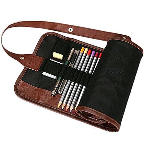 E. vie Toile de support 36/48/72trous doux de rouleau Crayons Printbox style multiples usages Trousse Sac Pochette Rangement pour crayons (Crayons non inclus) 72