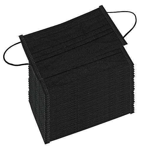 Mundschutz Maske LYTIVAGEN 100 Stück OP Mundschutz, 3 lagig 100% Vliesstoff, Schwarze Einwegmasken mit Elastikbändern