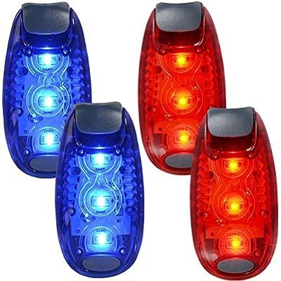 WINOMO 2 Paar LED Sicherheitslicht für Läufer Bikes Boote hochsichtbare Clip Licht für laufen Walking Jogging (blau + rot)