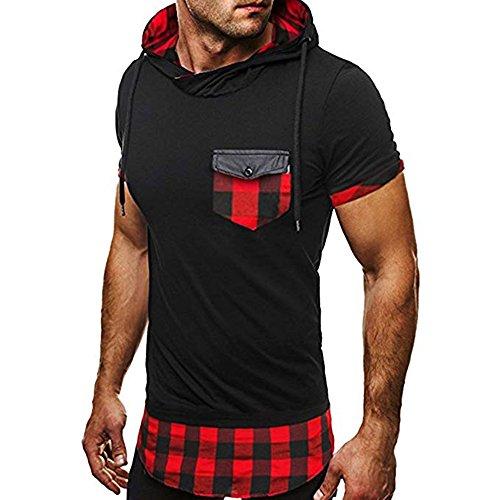 Sudadera con Capucha para Hombre Camiseta de Manga Corta con Capucha Summer Fashion Casual Sport Top