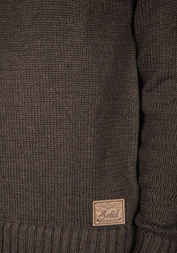 SOLID Pizi Herren Strickpullover Tube aus hochwertiger Baumwoll-Mischung mit Stehkragen Coffee Bean Melange (8973)