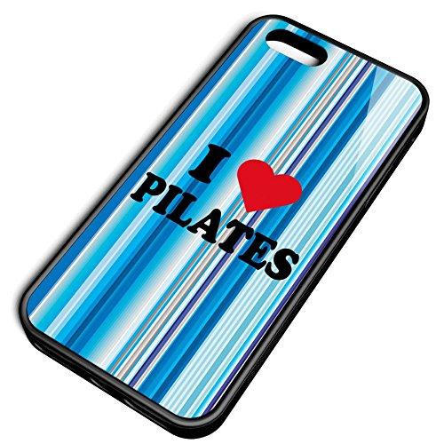 Smartcover Case I love Pilates z.B. für Iphone 5 / 5S, Iphone 6 / 6S, Samsung S6 und S6 EDGE mit griffigem Gummirand und coolem Print, Smartphone Hülle:Samsung S6 EDGE weiss Iphone 5 / 5S schwarz