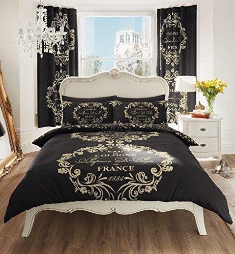 select-ed ® Luxus Paris Script Bettbezug Einzelbett Bettbezug Bettwäsche Set Doppelbett King Kissenbezüge -