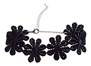 black daisy chain hippy chick lace choker by dunns-jewels