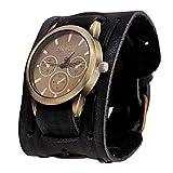 Unisex Uhr Retro Herren Punk Rock Armbanduhren Große Breite Brown Leder Armband