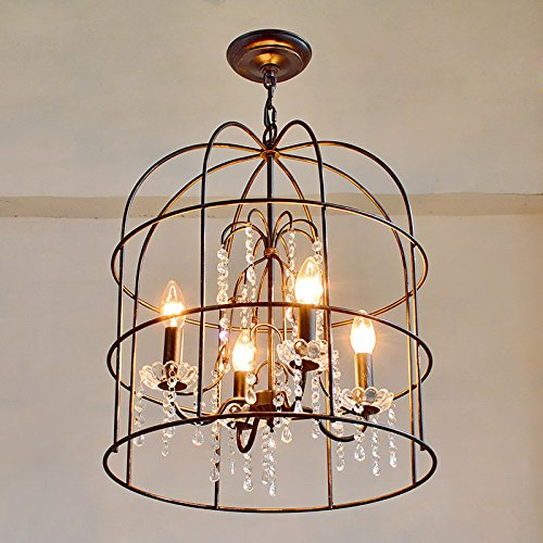 Tsqqst Loft Retro Iron Crystal Bird Cage Lighting Lamps, American Country Bar, Table Restaurant, Clothing Shop, Coffee Shop, Chandelier,Masked Black Lamp40W Incandescent Bulb Warranty For 3 Years