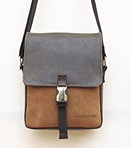 Men's shoulder bag made of leather and cotton. Handmade messenger bag.