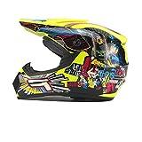Mdsfe Casco moto leggero, resistente agli urti Casco da corsa da corsa per uomo da motocross, design a doppia presa integrato - giallo2 XS
