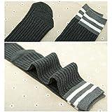 fygood-Lote de 5pares calcetines altas rodilla niños Unisex Rayas rayas Talla:M(4-10ans 40cm)