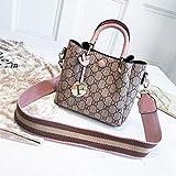 XIAOXINYUAN Frauen Umhängetasche Vintage Druck Handtasche Damen Große Kapazität Einfache Freizeit Messenger Bags Eimer Tasche Rosa